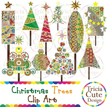 Christmas Trees Clip Art – Colorful & Patterned