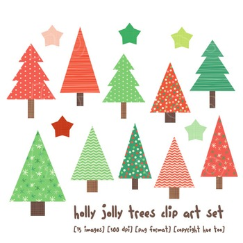 Christmas Trees Clip Art, Red and Green Holiday Clip Art f