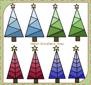 Christmas Trees Clipart / Ombré Christmas Trees Clipart {Christmas Clipart}