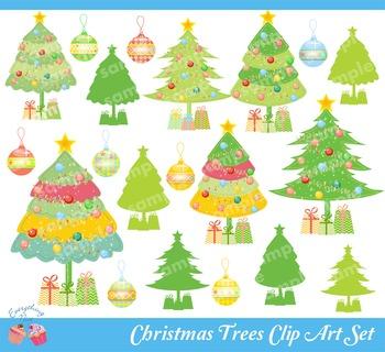 Christmas Trees Clipart Set