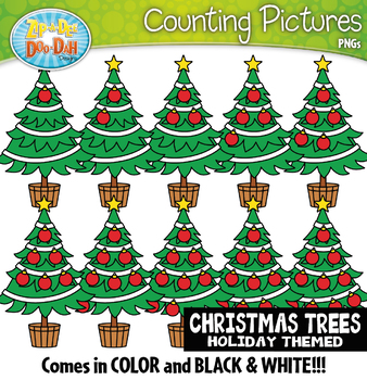 Christmas Trees Counting Pictures Clipart {Zip-A-Dee-Doo-Dah Designs}
