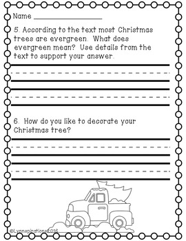 Christmas Trees- Non-fiction Reading Comprehension Passage for Grades 1-3