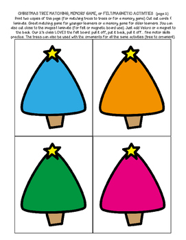 Christmas Trees & Ornaments: colors matching ordering counting memory patterns