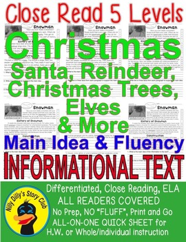 Christmas Trees Santa Reindeer & More Close Read 5 Levels Informational Text