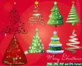 Christmas Trees Star Clip Art modern xmas card retro decorations ornaments -152