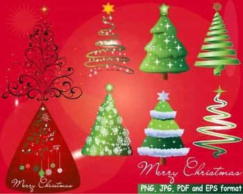 Christmas Trees Star Clip Art modern xmas card retro decor