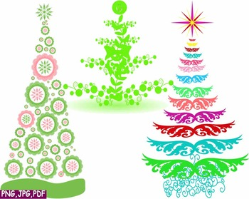 Christmas Card Clip Art.Christmas Trees Star Clip Art Modern Xmas Card Retro Decorations Ornaments 1e