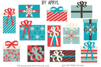 Christmas Trees and Gifts Clip Art Blue Coral Holiday Commercial Use