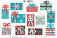 Christmas Trees and Gifts Clip Art Blue Coral Holiday Comm
