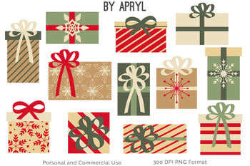 Christmas Trees and Gifts Clip Art Red and Green Holiday Commercial Use