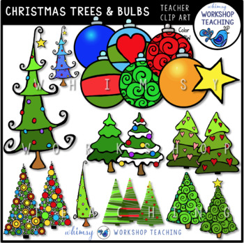 Christmas Trees and Ornaments Clip Art