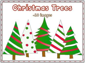 Christmas Trees {clipart} {freebie}