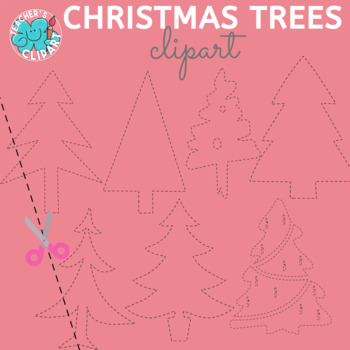 Pin and Trace Christmas Trees clip art