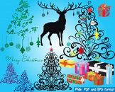 Christmas Trees deer Clip Art modern xmas reindeer decorations ornaments -153