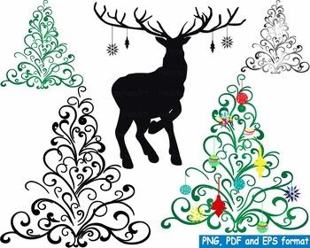 Christmas Trees deer Clip Art modern xmas reindeer decorations ornaments -153