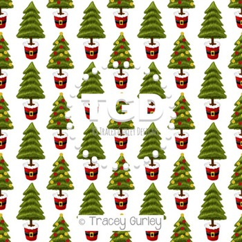 Christmas Trees in Santa Pots on White digital paper Printable Tracey Gurley