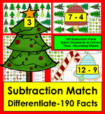 Christmas Math Center Subtraction Trim A Tree Match - 190 Facts