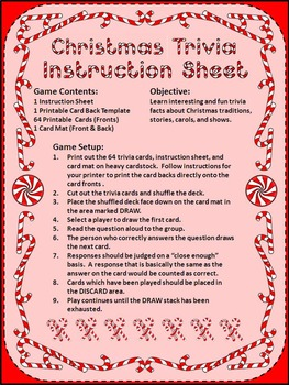 Christmas Trivia Card Game Activity - Color Version
