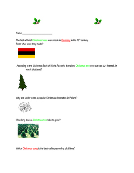 Christmas Trivia Internet Scavenger Hunt