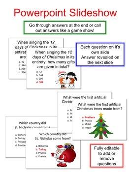 Editable Christmas Trivia Quiz Game (33 Questions)