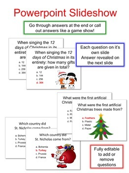 Christmas Trivia Quiz Game 33 Questions By Thought Process Tpt