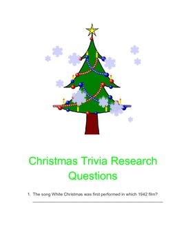 Christmas Trivia Questions.Christmas Trivia Research Questions