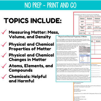 Physical Science Reading Passages | Physical & Chemical Properties | Grade 5-6