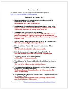 Christmas Truce: World War I Primary Source Worksheet