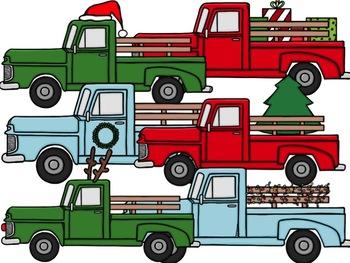 Christmas Trucks Digital Clip Art Set
