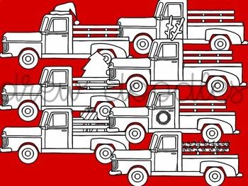 Christmas Trucks Digital Clip Art Set- Black Line Version