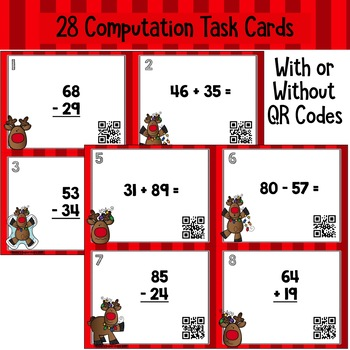 Christmas Two Digit Addition and Subtraction with Regrouping Task Cards