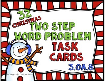 Christmas Math Scoot Two Step Word Problem (Common Core Al