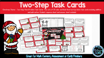 Christmas Two-Step Word Problem Task Cards