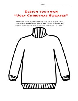 Christmas Ugly Sweater Activity/Worksheet