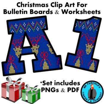 Christmas Ugly Sweater Bulletin Board Letters and Numbers Clip Art #3