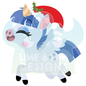 Christmas Unicorns 5 Clipart | Instant Download Vector Art | Commercial Use Clip