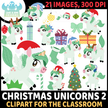 Christmas Unicorns 6 Clipart | Instant Download Vector Art | Commercial Use Clip