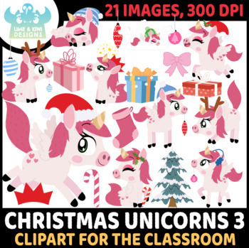 Christmas Unicorns 7 Clipart | Instant Download Vector Art | Commercial Use Clip