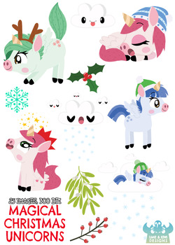 Christmas Unicorns 8 Clipart | Instant Download Vector Art | Commercial Use Clip