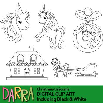 Christmas Unicorns Clip Art