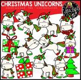 Christmas Unicorns Clip Art Set {Educlips Clipart}