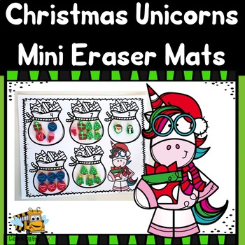 Christmas Unicorns Mini Eraser Counting Mats