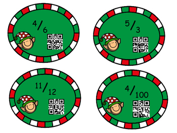 Christmas Unit Fraction Task Cards with QR Codes