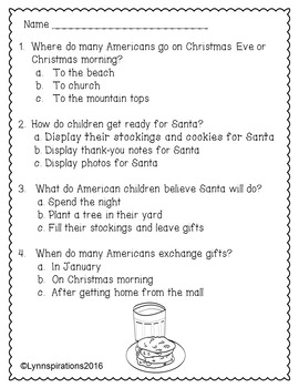 Christmas United States : Non-fiction Reading Comprehension Passage Grades 1-3