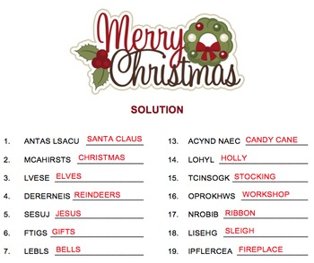 Christmas - Unscramble