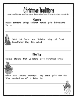 Christmas - Unscramble Sentences - Traditions of Other Countries