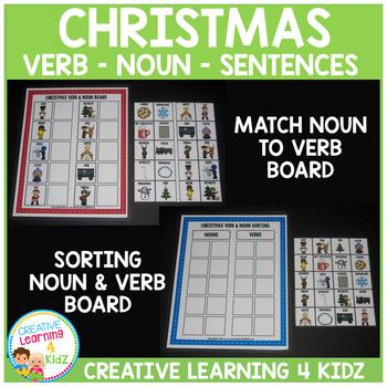 Christmas Verb & Noun SET Matching Sorting Sentence Boards