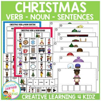 Christmas Verb & Noun Matching - Sorting - Sentence Boards