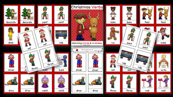 Christmas Verb & Preposition Interactive Literacy Bundle / Montessori Style