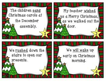 Christmas Verb Tense Task Cards